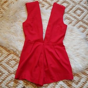 SALE‼️ Deep V Red Romper